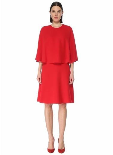 Valentino Valentino  Pelerin Detaylı Mini İpek Elbise 101619538 Kırmızı